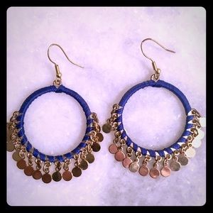 Jewelry - Blue and gold hoops